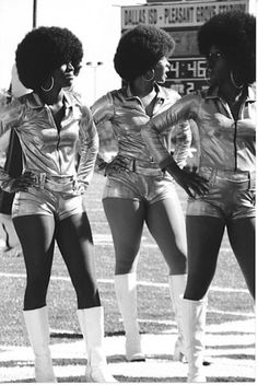 1960's, Afros, hot pants and go-go boots! Dancing girls...probably for an HBCU band
