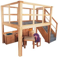Strictly For Kids Mainstream School Age Navigator 2000 loft, 134w x 78d x 105h overall, 60h deck (Deluxe Preschool shown