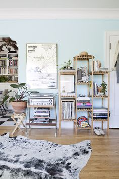 Pale blue walls with colourful open shelving