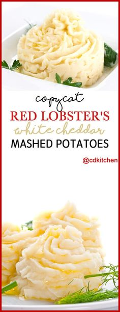 This copycat from Red Lobster starts with basic mashed potatoes but adds both heavy cream and sour cream for an extra-creamy texture and uses white Cheddar for a milder cheese flavor. Red Lobster Mashed Potatoes Recipe, Basic Mashed Potatoes, Cheesy Potatoes, Flavored Mashed Potatoes Recipe, Small White Potatoes Recipe, Mashed Potatoes Heavy Cream, Cheddar Potatoes, Broccoli Cheddar, Baked Potatoes