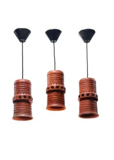 Set of Three Small Pottery Pendant Lights | Rose Uniacke