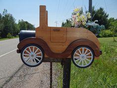 Wooden car mailbox by Ken Wolf, via Flickr