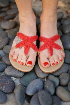 77c4e4f4a8f2a Coral Starfish sandals for a summer beach getaway Cute Flats