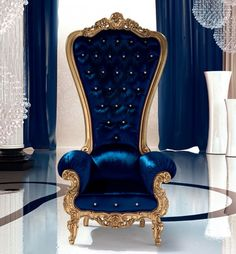Dark Blue Regal Armchair Throne
