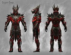 This concept art is for a specific type of armour called the 'Daedtric Armour' for the video game 'The Elder Scrolls V: Skyrim' by Bethesda Game studios. This concept art was done by Ray Lederer. I love this concept art because of the amount of detail added to the armour also the colours on it. Black and red gives it a dark feel to it making it feel like the armour is evil.