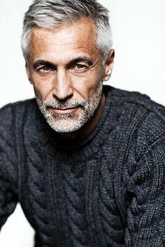 Andreas von Tempelhoff, model : via Silver Foxes Grey Hair Model, Gray Hair, Silver Hair Men, Silver Foxes Men, Hair And Beard Styles, Hair Styles, Men Over 50, Beard Grooming Kits, Hommes Sexy