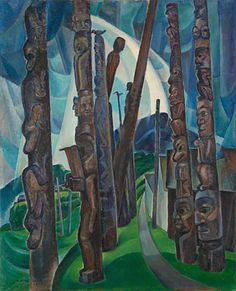 Emily Carr Kitwancool Another iconic Canadian artist. Like Tom Thompson, she was associated with, but not officially a member of, the Group of Seven. via Kelley Vanstone Tom Thomson, Canadian Painters, Canadian Artists, Totems, Emily Carr Paintings, Art Paintings, Landscape Paintings, Landscapes, Vancouver Art Gallery