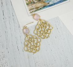 Gold Celtic Knot Earrings with Pink Crystal Gold Filigree Dangle EarringsGold and Pink Chandelier EarringsWedding EarringsBridal Jewelry by FranceProvence #TrendingEtsy