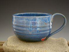 Large Mug in Indigo Blue - Coffee Mug - Secret Red Heart - Soup Mug - Pottery Mug - Big Blue - by DirtKicker Pottery. $28.00, via Etsy.