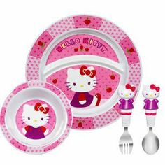 Hello Kitty Toddler 4 Piece Dining Set Plate Bowl Fork and Spoon will be perfect for my granddaughter who loves Hello Kitty!