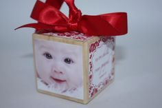 Red White Damask picture/photo cube block by RoseBloomBoutique
