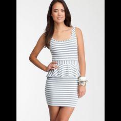 Bebe Gray Stripped Peplum Dress