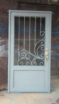 Puertas Door Grill, Window Grill Design, Steel Gate Design, Iron Gate Design, Wrought Iron Doors, Main Door Design, Iron Furniture, Steel Doors, Entrance Doors