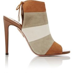 Aquazzura Women's Rainbow Back-Tie Sandals ($279) ❤ liked on Polyvore featuring shoes, sandals, tan, rainbow sandals, rainbow leather sandals, brown shoes, brown leather shoes and tie sandals