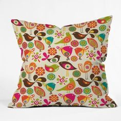 Amazon.com: DENY Designs Valentina Ramos Little Birds Throw Pillow, 20-Inch by 20-Inch: Home & Kitchen