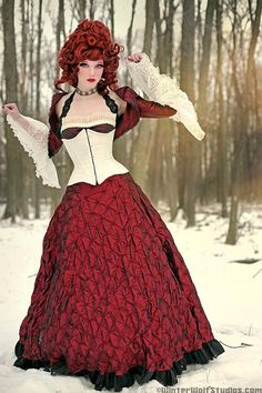 Vicious dolls corset and gown, Winter and Wolf photograph #red #photography