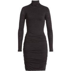 Velvet Jersey Turtleneck Dress featuring polyvore, women's fashion, clothing, dresses, grey, turtleneck dress, grey dress, velvet turtleneck, turtle neck dress and jersey turtleneck