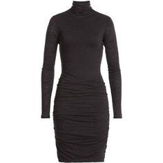 Velvet Jersey Turtleneck Dress featuring polyvore, women's fashion, clothing, dresses, grey, turtleneck dress, grey dress, velvet turtleneck, turtle neck dress and jersey turtleneck