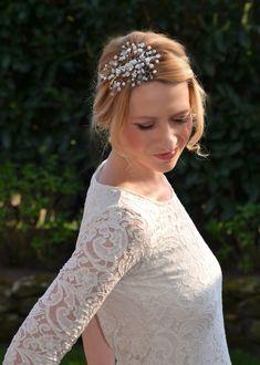 ivory ♥ NEU Zarte NETZ HAARNADEL Strass Braut Haarschmuck Hochzeit  ♥ weiß o