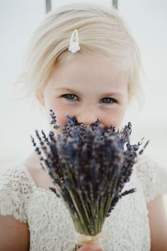 flowergirl with lavender bouquet