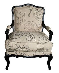 Louis Styled Armchair & Footstool with Black Frame - Postage Stamp Pri – Allissias Attic & Vintage French Style