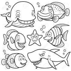 Illustration of illustration of Sea Animals Collection - Coloring book vector art, clipart and stock vectors. Shark Coloring Pages, Colouring Pages, Free Coloring, Coloring Pages For Kids, Coloring Books, Fish Drawings, Animal Drawings, Cartoon Drawings, Art Drawings