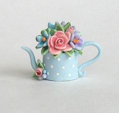 Miniature Spring Bouquet Teapot OOAK by C. Rohal by ArtisticSpirit:: Polymer Clay Miniatures, Polymer Clay Projects, Polymer Clay Creations, Polymer Clay Art, Clay Fairy House, Clay Teapots, Clay Fairies, Clay Figurine, Clay Ornaments