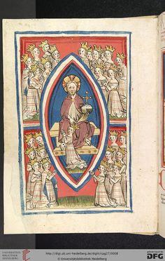 """Cod. Pal. germ. 27: Otto von Passau: Die 24 Alten (Straßburg - """"Werkstatt von 1418"""", 1418), 1v Christus und die minnende Seele"""