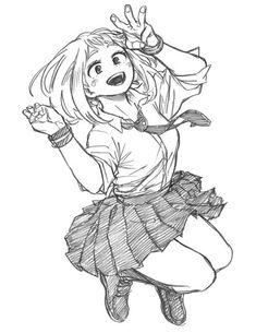 Uraraka Ochaco Uraraka Ochaco Source by Boku No Hero Academia, My Hero Academia Manga, Drawing Reference Poses, Art Reference, Hero Academia Characters, Anime Characters, Anime Art Girl, Manga Art, Wie Zeichnet Man Manga