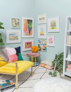 How to style a corner gallery wall. - Oh Joy! Living Room Interior, Living Room Decor, Living Rooms, Barn Living, Kids Wall Decor, Corner Wall Decor, Art Corner, Colourful Living Room, Wall Design