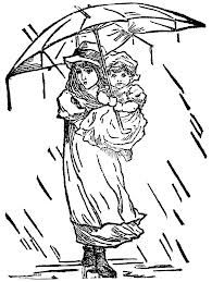 Woman and child under an umbrella in the rain. Drawing For Kids, Line Drawing, Rain Clipart, Coloring Books, Coloring Pages, Sad Child, Tongue Twisters, Rain Painting, Walking In The Rain