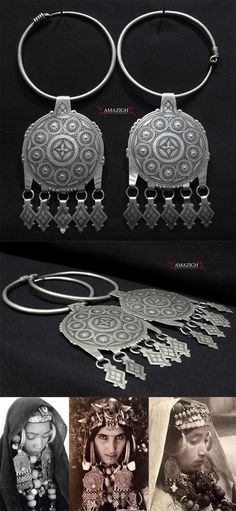 South Morocco | Huger temporal Parure; silver, niello decoration | Ait Herbil, Western Anti Atlas | Early 20th century | Sold