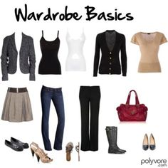 Wardrobe basics to consider: blazer, black and white tanks/tees, cardigan, neutral blouse, a-line skirt, jeans, black pants, and accessories.