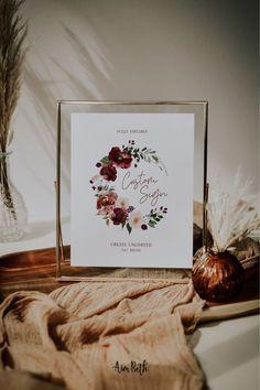 Burgundy Wedding Custom Sign Template - Burgundy Party Theme #burgundywedding #maroonwedding #merlotwedding #marsalawedding #burgundyflorals #maroon #burgundy #wedding #weddinginspo #bridetobe #weddingdecor #bridalshowerdecor #burgundybridal #template #printable #diy #editable #personalized #customsign #weddingsign #bridalshowersign #tablesign