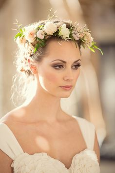 Dewy, English Rose Make Up by Ana Ospina & Fresh Hair Floral Garland by Fairynuff Flowers / Her Lovely Heart Wedding Photography
