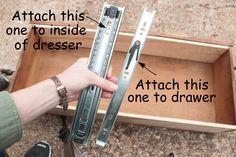 How to Install Drawer Slides on a Vintage Dresser - Shades of Blue Interiors Dresser Drawer Slides, Wood Drawer Slides, Old Dresser Drawers, Dresser Refinish, Diy Drawers, Wooden Drawers, Dresser Ideas, Diy Furniture Easy, Furniture Repair