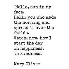 """""""Hello, sun in my face. Hello you who made the morning and spread it over the fields...Watch, now, how I start the day in happiness, in kindness.""""  ~ Mary Oliver........4....<3"""