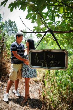 #Pregnancy Announcement #Maternity Photo #& Then There Were Three #Chalkboard