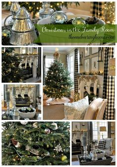 Last year I don't think I ever really finished decorating our family room for Christmas. After I started adding soft blues and greens to the room, our mostly red and green bright and festive Christmas decorations no longer worked. Christmas Collage, Plaid Christmas, Country Christmas, All Things Christmas, Christmas Home, Christmas Holidays, White Christmas, Merry Christmas, Christmas Interiors