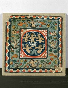 The birth of Aphrodite.Coptic textile. From Antinoe, ca.6th CE Wool and linen,28 x 28 cm  Louvre, Departement des Antiquites Egyptiennes, Paris, France