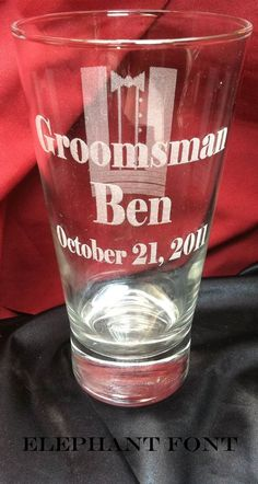 Bestman Gifts, Groomsmen Gifts- Beer Pint Glasses Engraved To Order, Tuxedo Logo Pint Glass. http://www.best-engraving.com/BestMan_pint_Glasses.aspx