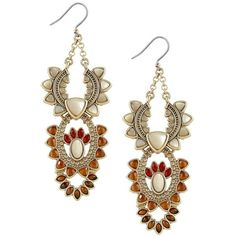 Lucky Brand Statement Chandelier Earrings ($45) ❤ liked on Polyvore featuring jewelry, earrings, gold, tribal earrings, lucky brand jewelry, earring jewelry, chandelier jewelry and tribal jewellery