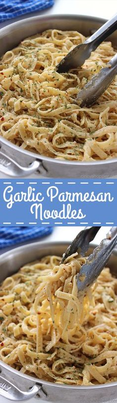 Easy vegetarian butter Garlic Parmesan Noodles - perfect side dish with just about any meal. Butter, garlic, noodles, Parmesan, and a few minutes of time needed are all that are needed. Parmesan Noodles, Garlic Parmesan, Garlic Noodles, Rice Noodles, Garlic Butter, I Love Food, Good Food, Yummy Food, Tasty