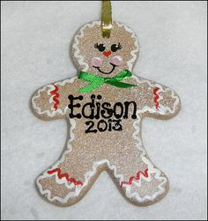 Gingerbread Man Ceramic Ornament / Gift Tag by SerendipityCrafts, $17.00
