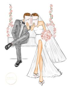 hand sketched illustration of a Bride and Groom on a love swing by Alison B illustration. Available as a print, greeting card or save the date ! card for bride and groom wedding couple art by Alison B illustration Paar Illustration, Winter Illustration, Wedding Illustration, Couple Illustration, Illustration Sketches, Card Sketches, Wedding Drawing, Wedding Dress Sketches, Wedding Art