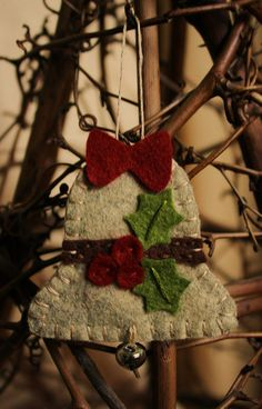Items similar to holly bell felt ornament wool felt holiday decoration on Etsy Christmas Projects, Felt Crafts, Holiday Crafts, Felt Projects, Christmas Sewing, Handmade Christmas, Crochet Christmas, All Things Christmas, Christmas Holidays