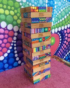 Collaborative Art Projects For Kids, Class Art Projects, Kindergarten Art Projects, Craft Projects, Project Ideas, Craft Ideas, School Auction Projects, Auction Ideas, Jenga Blocks