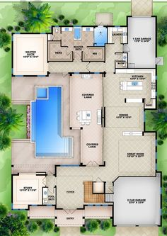 Home Design Plans Square Feet House Architecture U Shaped House Plans, U Shaped Houses, Pool House Plans, Sims House Plans, House Layout Plans, Family House Plans, Bedroom House Plans, Best House Plans, Dream House Plans