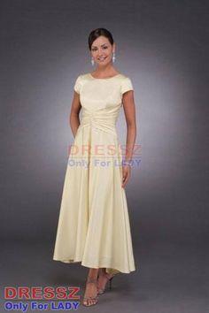 Custom Made Top Quality Custom Made Top Quality Short Sleeve Satin Casual Modest Tea Length Mother Of The Bride Dress Petite