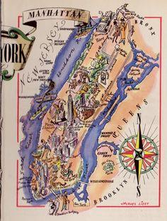 Whimsical Manhattan Map New York City Map Brooklyn By Plaindealing